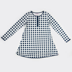 Women's Gown - Navy Check