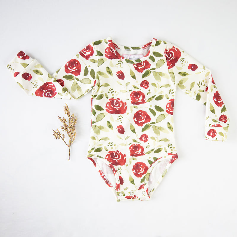Lanie Layering Bodysuit - Starbright Scarlet on Cream