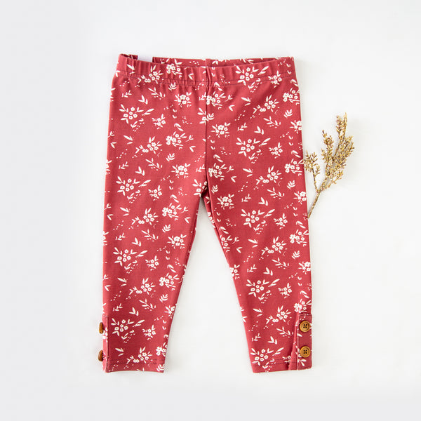 Frankie Leggings - Little Daisies Scarlet - Final Sale
