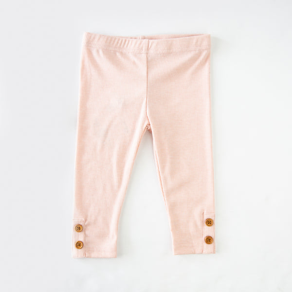 Frankie Leggings - Ribbed Knit Rose