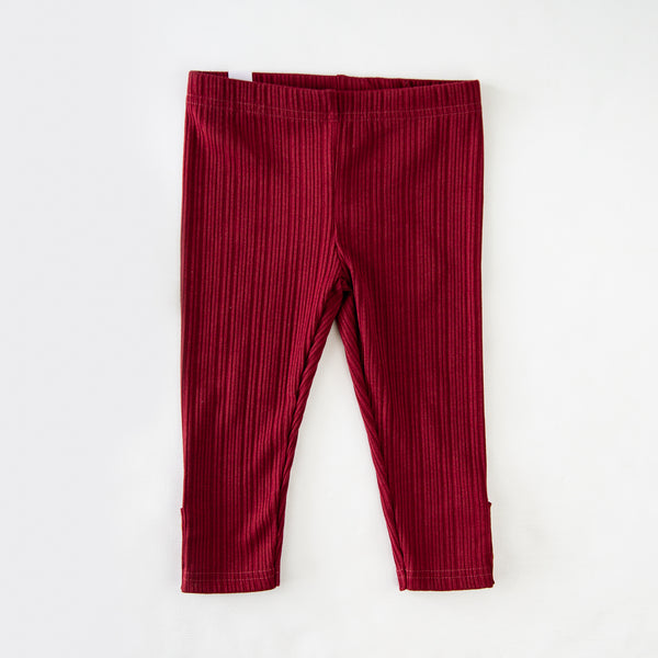 Frankie Leggings - Ribbed Knit Scarlet