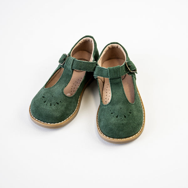 Mary Jane T-Strap - Moss Suede - Final Sale