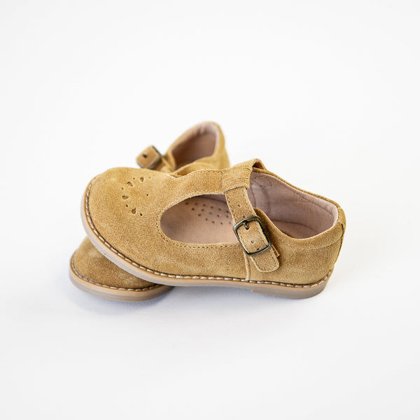Mary Jane T-Strap - Camel Suede - Final Sale
