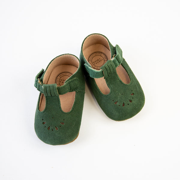 Mary Jane T-Strap Infant - Moss Suede - Final Sale