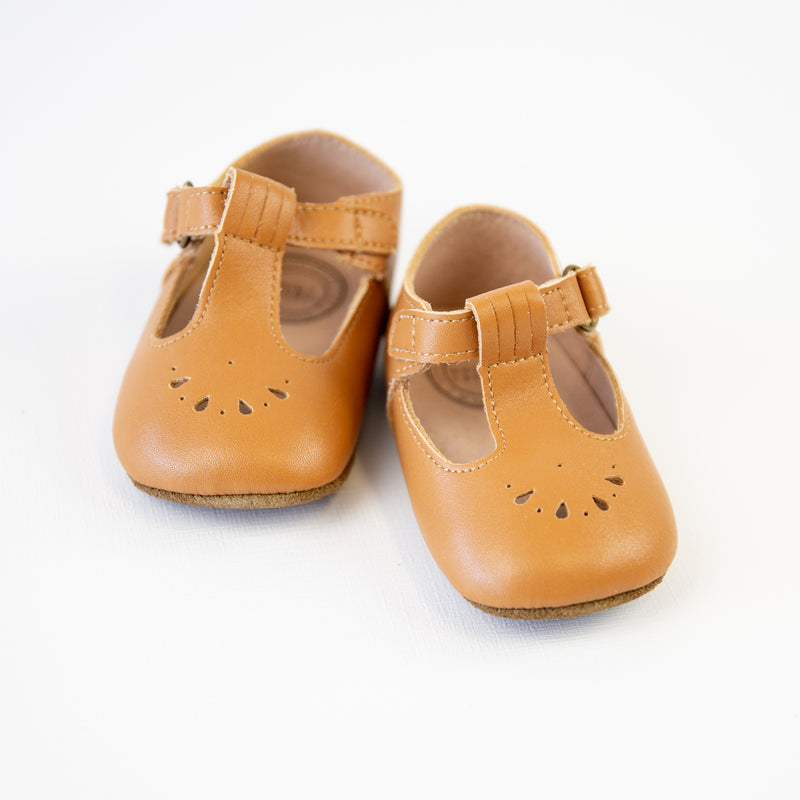 Mary Jane T-Strap Infant - Camel Leather - Final Sale