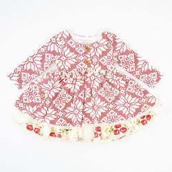 Hazel Dress - Snowflake Scarlet - Final Sale