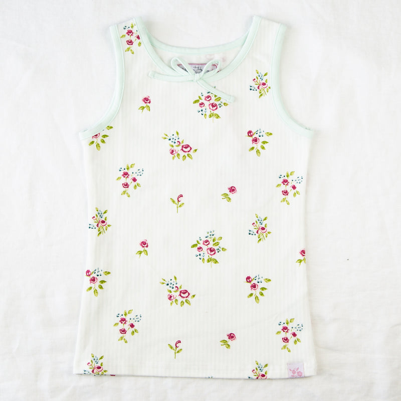Sleeveless Top - Floral Stripes