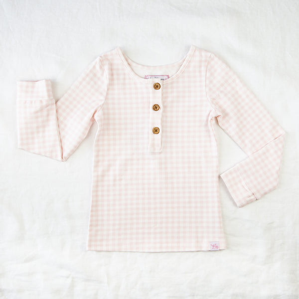 Lanie LS Layering Top - Bubblegum Pink Gingham