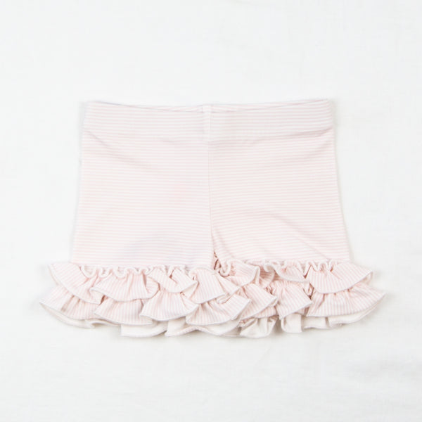 Ruffled Shorties - Berry Stripe