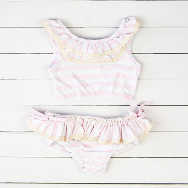 Mallory Crop - Striped Soft Pink