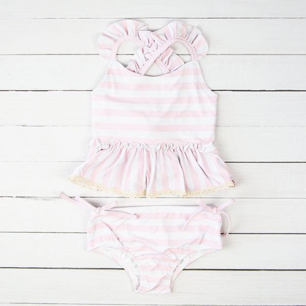 Maddi Tankini - Striped Soft Pink