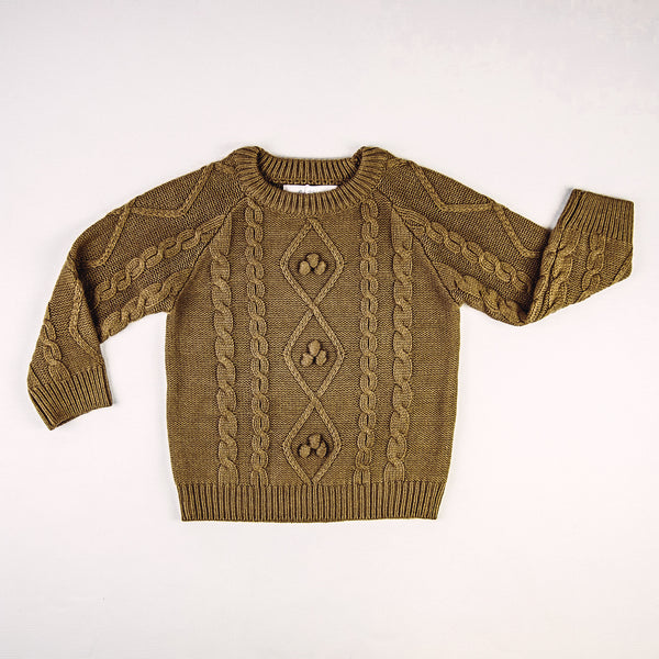 Chunky Cableknit Sweater - Gold