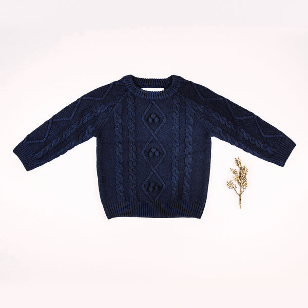 Chunky Cableknit Sweater - Navy