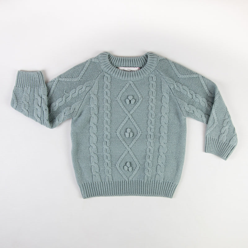 Chunky Cableknit Sweater - Light Blue