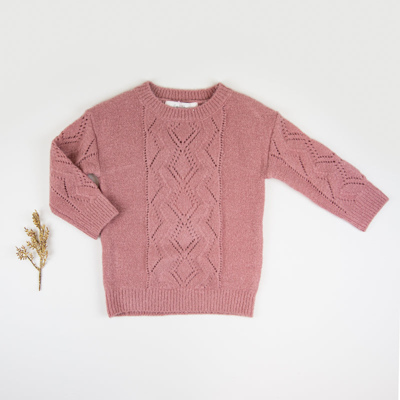 Knitted Pullover Sweater - Brick
