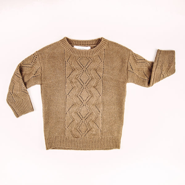 Knitted Pullover Sweater - Camel