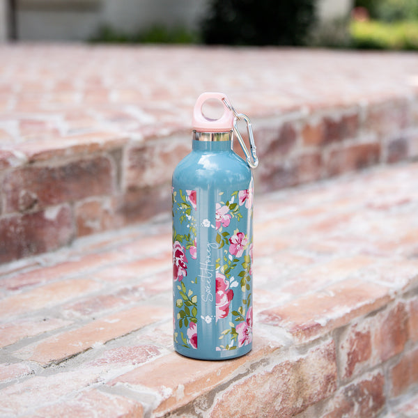 Water Bottle - Swirly Floral Aqua