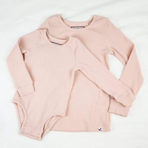 Lanie Layering Top - Ribbed Knit Rose