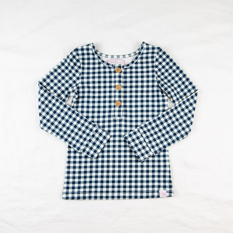 Lanie Layering Top - True Blue Navy Check