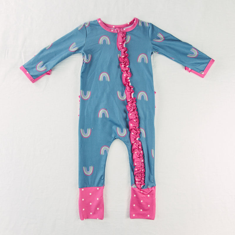 Dreamer Layette - Dusty Blue Rainbow