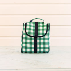 Toiletry Bag - Bright Green Check