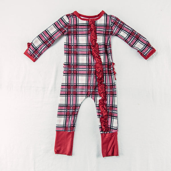 Dreamer Layette - Ruffled Red Plaid