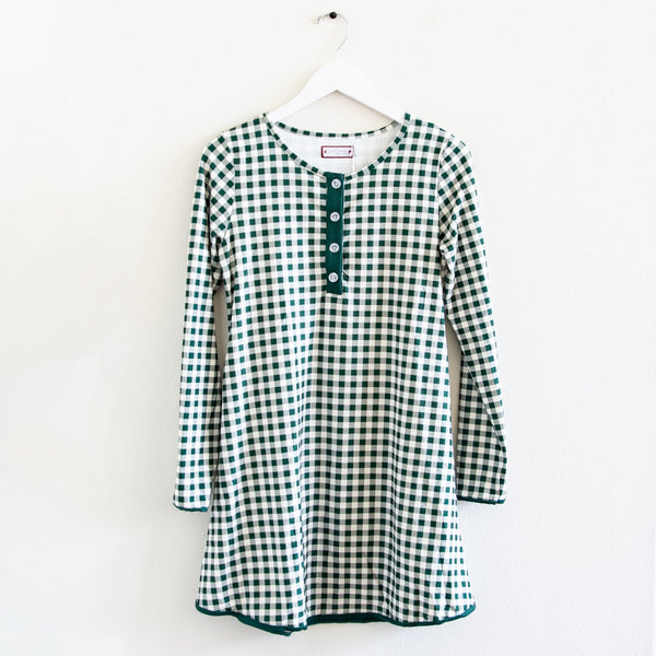Women's Gown - Green Check