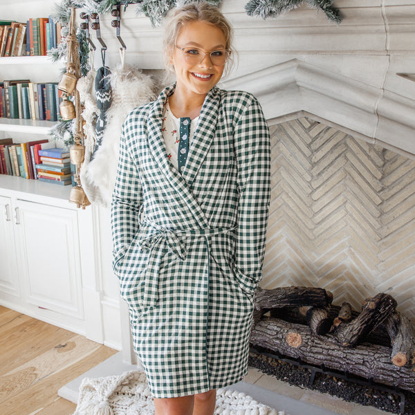 Women's Robe - Green Check
