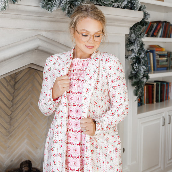 Women's Robe - Rose Dotty