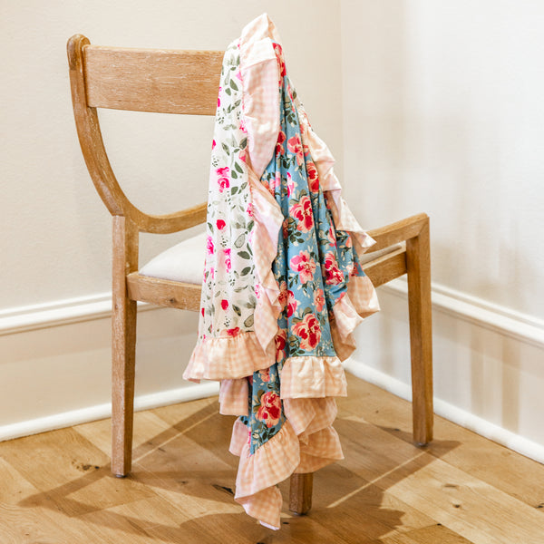 Dreamer Knit Blanket - Swirly Floral Aqua Remix