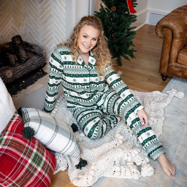 Womens Cozy PJs - Snowflakes & Trees