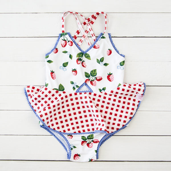 Morgan Skirted One Piece - Sweet Strawberry
