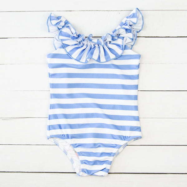 Mary One Piece - Stripes Periwinkle