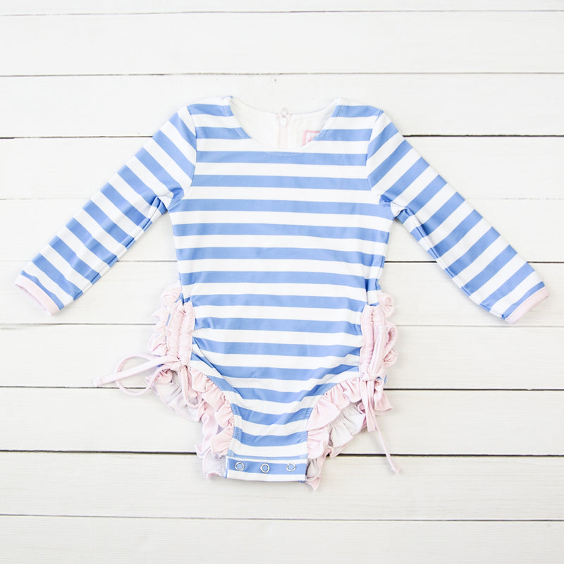 Solid Rash Guard - Stripes Periwinkle