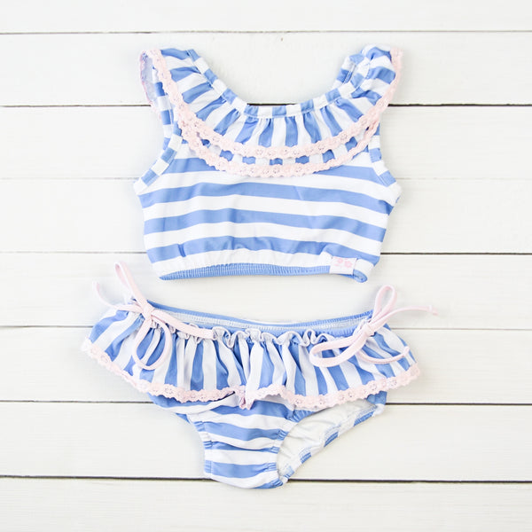 Mallory Crop - Stripes Periwinkle