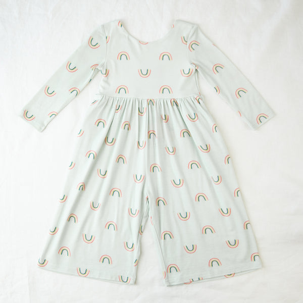 Leggy Sleeved Romper - Painted Rainbows Mint