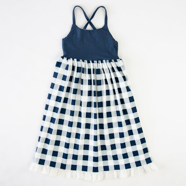 Dreamer Long Gown - Navy Check - Final Sale