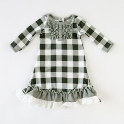 Doll Gown - Sage Check