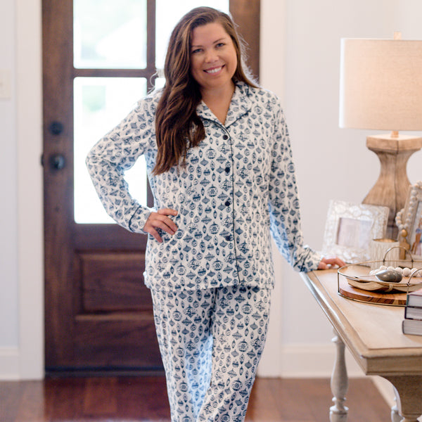 Women's Cozy PJ - Vintage Ornaments Navy
