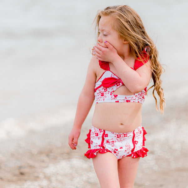 Retro Tankini Remix - Red Floral