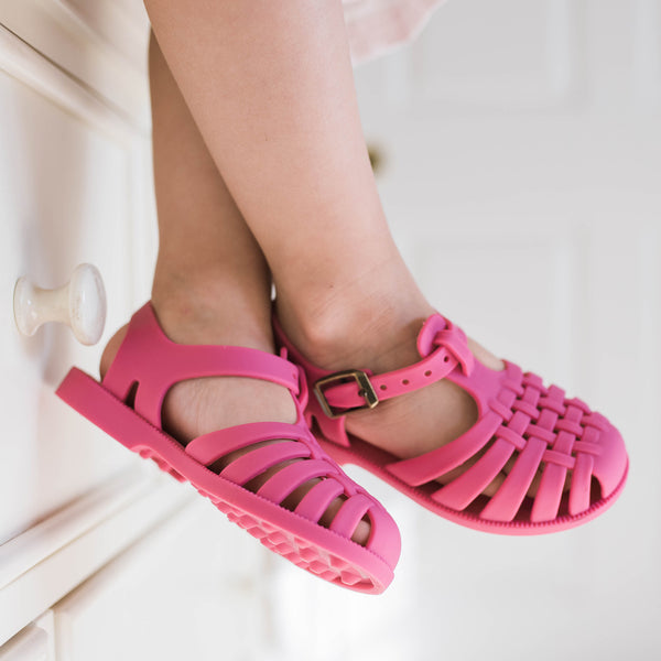 Matte Jelly Sandals - Dark Pink