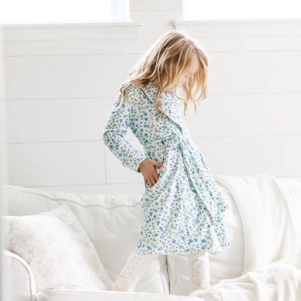 Classic Lounge Robe - Baby Blue