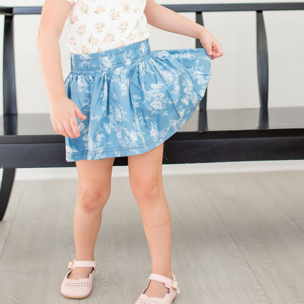 SweetHoney - Garden Skirt - Chambray Floral