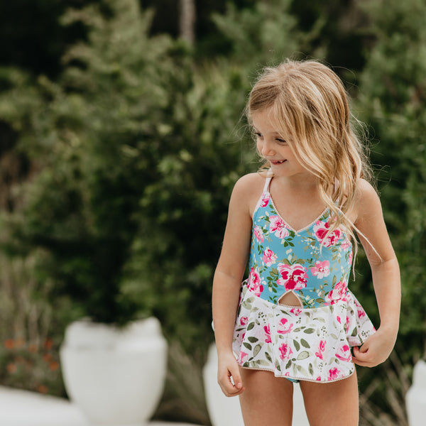 Morgan Skirted One Piece - Swirly Floral Pinks