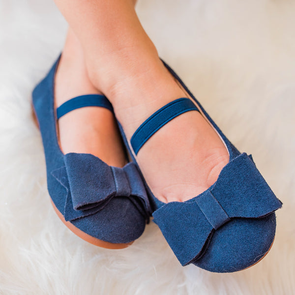 Big Bow Suede Ballet - Navy