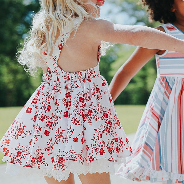 Pinafore - Red Floral