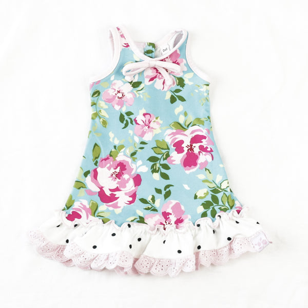Doll Gown - Swirly Floral Aqua