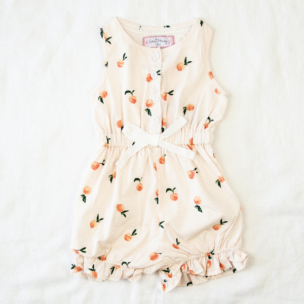 Recess Romper - Peaches Stripes