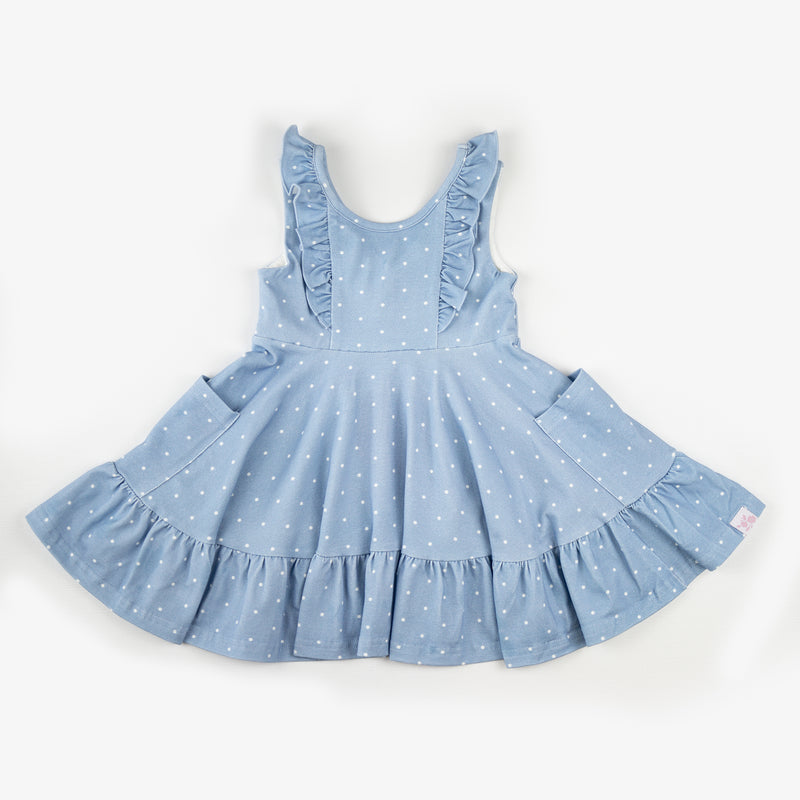 Flair Dress - Blueberry Dot