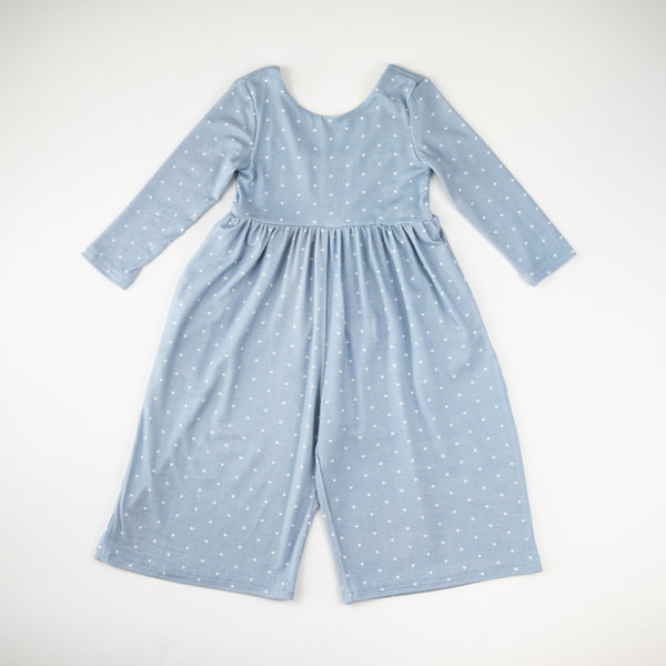 Leggy Sleeved Romper - Blueberry Dot